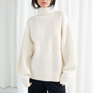 & OTHER STORIES Oversized Cable Knit Turtleneck